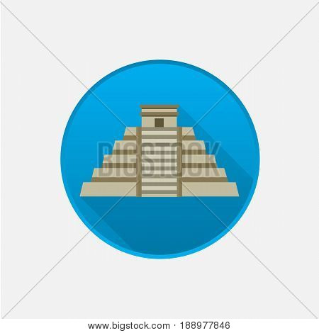 Mayan pyramid icon isolated on white .