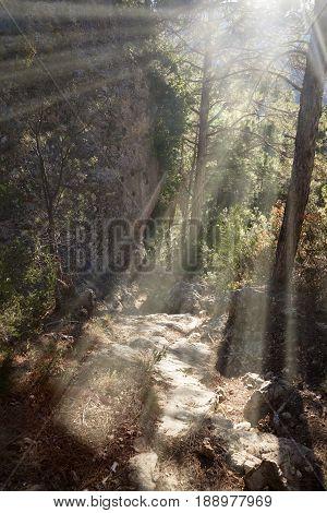 Lino Peak way. Beceite. Teruel province. Spain