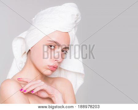 Girl With White Bath Towel On Head
