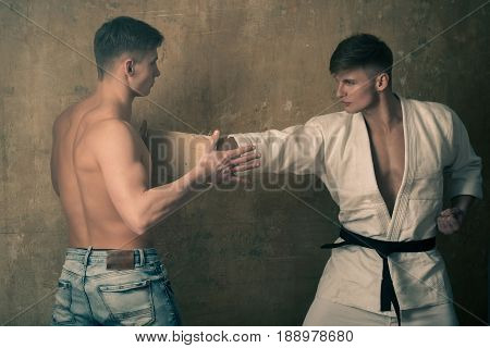 Men Training Karate