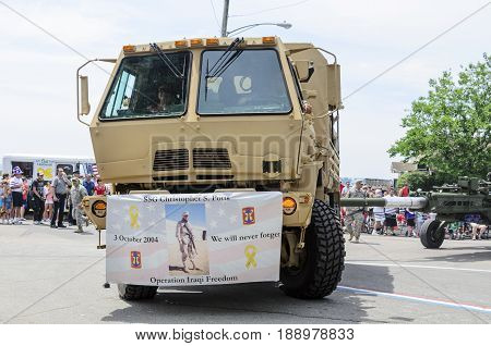 Bristol Rhode Island USA - July 4 2011: Army tactical vehicle at Independence Day parade in Bristol Rhode Island