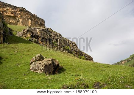 Mountain landscape, beautiful view of high rocks in the mountain picturesque gorge, the wild nature and mountains of the North Caucasus