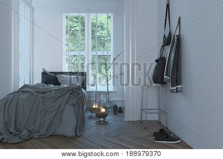 Messy unmade bed in a small white bedroom with burning candles on the floor , two windows with blinds and homely shoes and clothing. 3d rendering