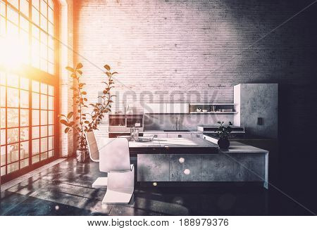 Warm glow from the rising sun pouring in through a large window in a shadowy fitted kitchen in a converted loft. 3d rendering