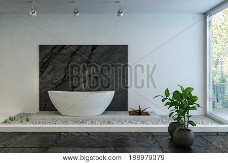 Modern boat-shaped oval bathtub in a stylish designer bathroom with a raised pebble platform, black marble detail and white walls and a large window letting in lots of daylight. 3d rendering