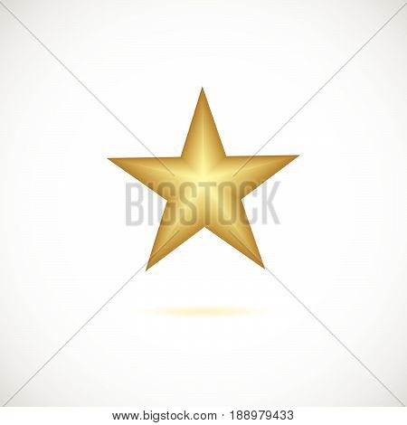 Realistic Metallic Golden Star Isolated On Vintage Background.