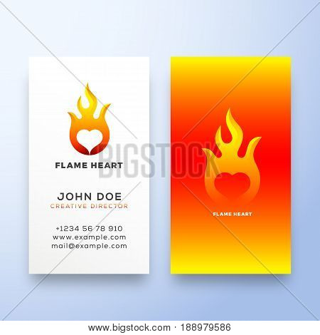 Flame Heart Abstract Vector Sign, Symbol or Logo Template and Business Card. Negative Space Emblem Stationary Concept. Isolated.