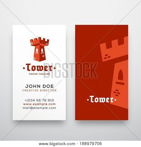 Abstract Vector Tower Sign, Emblem or Logo Template and Stationary. Flat Style Fortress Concept with Retro Typography Business Cards. Isolated.