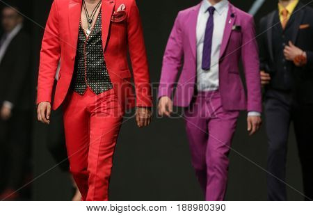 Fashion Show Runway Beautiful Red And Pink Suits