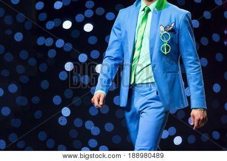 Fashion Show Runway Beautiful Blue Suit