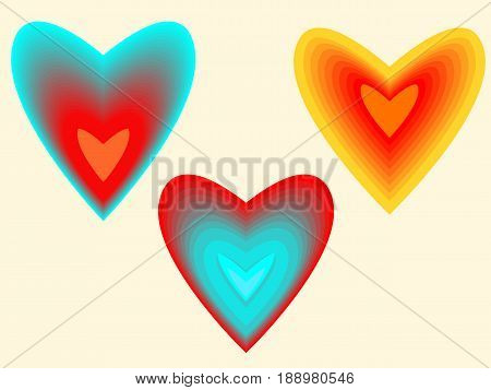 Three variant hearts, drawn using the interpolation effect.
