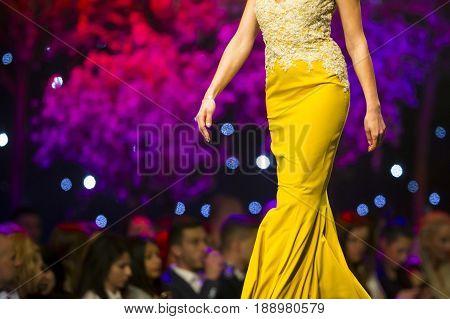 Fashion Show Runway Beautiful Yellow Dress