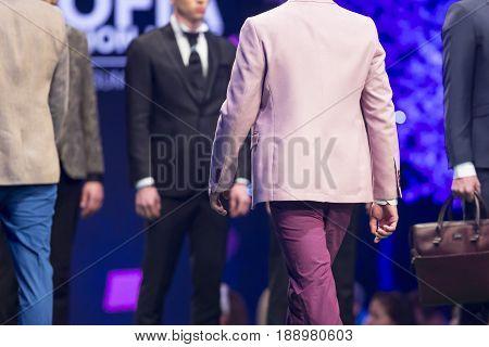 Fashion Show Runway Beautiful Pink Suit