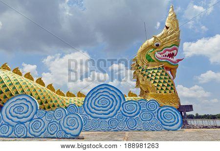 Yasothon Thailand - May 2017: Landmark building constructed in shape of naga (serpent) located at Phaya Thaen Public Park in Yasothon northeastern (Isan) province of Thailand