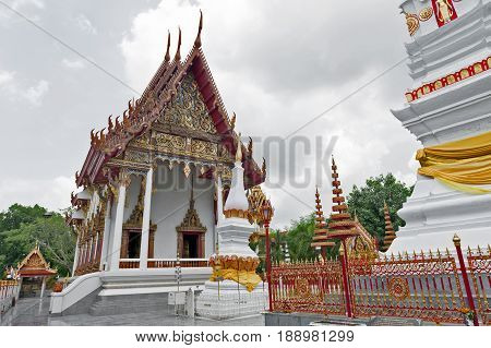 Ubosot (chapel) Of Wat Mahathat Temple In Downtown Yasothon, Northeastern (isan) Province Of Thailan