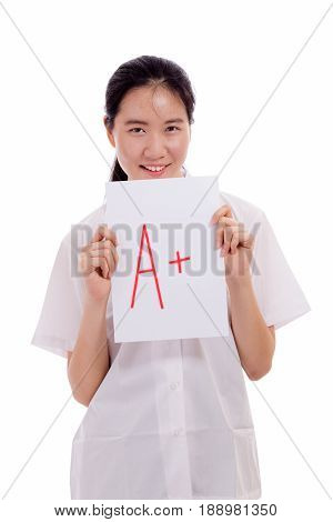 Asian Girl High School Student Showing Test