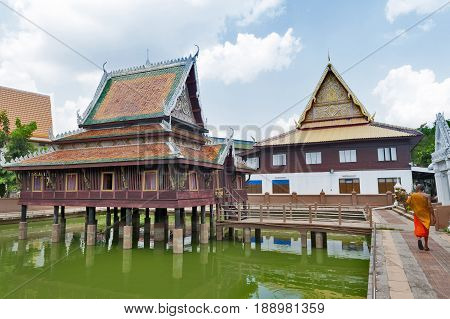 Ho Trai - Traditional Thai-style Building Used As A Library That Houses Buddhist Scriptures (tripita