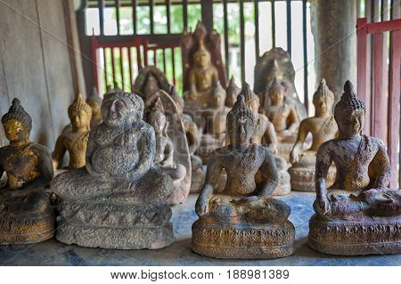 Buddha Images Inside Ho Trai Or The Library Of Buddhist Scriptures (tripitaka Or Pali Canon) Located
