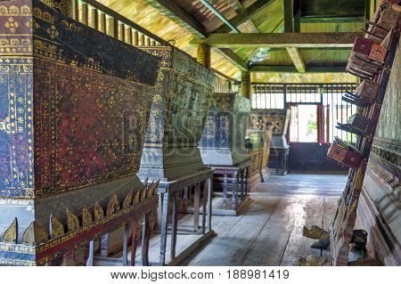 Gilded Wooden Boxes Containing Pali Manuscripts Exhibited Inside Ho Trai Or The Library Of Tripitaka