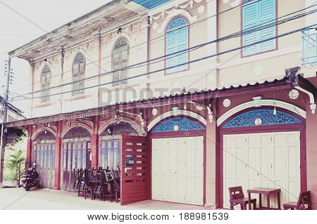 Classic Sino-portuguese Architectural Style Shophouse Building At Ban Singha Tha, Old Historic Area