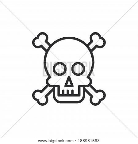 Skull and bones line icon outline vector sign linear style pictogram isolated on white. Poison symbol logo illustration. Editable stroke. Pixel perfect