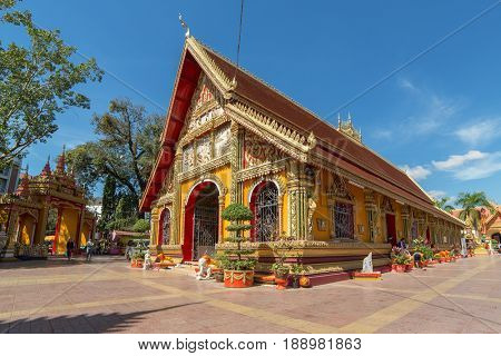 Vientiane, Laos - January 18, 2017: Wat Si Muang, Buddhist temple in Vientiane, Laos
