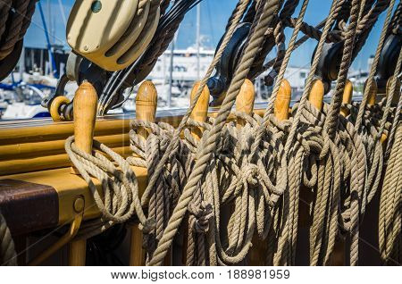 Rigging on the deck of an old sailing ship