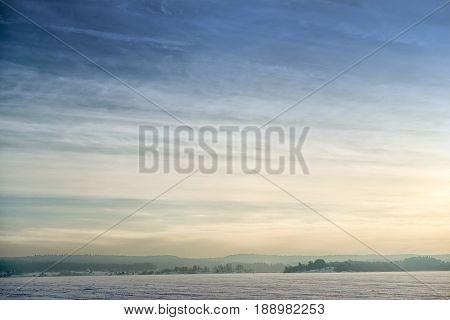 Morning winter landscape on the Ladoga lake Russia.