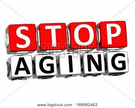 3D Block Red Text Stop Aging Over White Background.