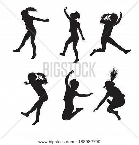 Six silhouettes of carefree jumping girl in the vector image on a white background