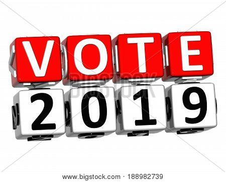 3D Block Red Text Vote 2019 Over White Background.