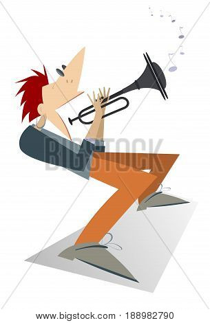 Cartoon trumpeter illustration isolated. Trumpeter is playing music with great inspiration