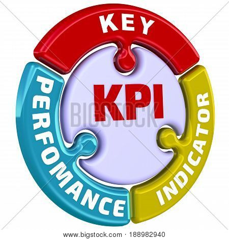 KPI (Key Performance Indicator). The check mark in the form of a puzzle. The inscription