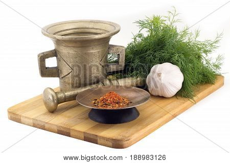 Composition Of Spices,paprika , Dill, Garlic, Vintage Spice Grinder Isolated On White Background