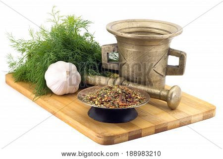 Composition Of Spices, Mix Of Hot Peppers, Dill, Garlic, Vintage Spice Grinder Isolated On White Bac