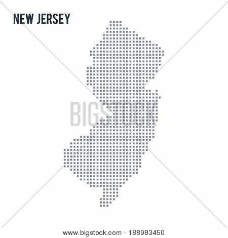 Vector pixel map State of New Jersey isolated on white background . Travel vector illustration