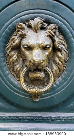Doorknocker with head of Lion on a green wooden door Paris France