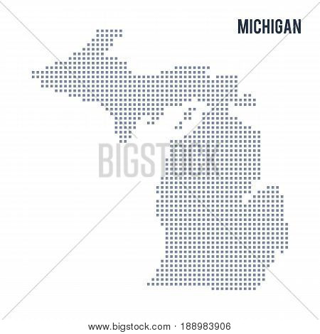Vector pixel map State of Michigan isolated on white background . Travel vector illustration