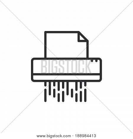 Documents shredder line icon outline vector sign linear style pictogram isolated on white. Symbol logo illustration. Editable stroke. Pixel perfect