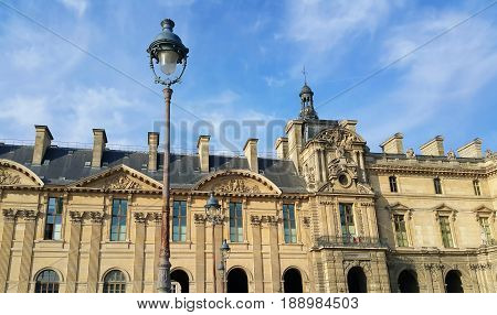 Facade of the royal Louvre palace Paris France