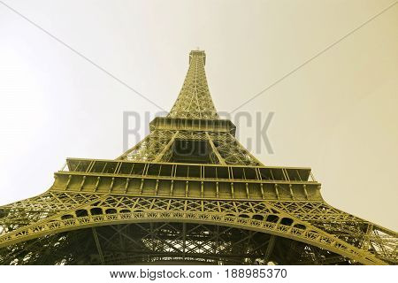 Bottom view on Eiffel Tower Paris France