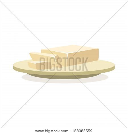 Butter or margarine on a plate baking ingredient vector Illustration isolated on a white background