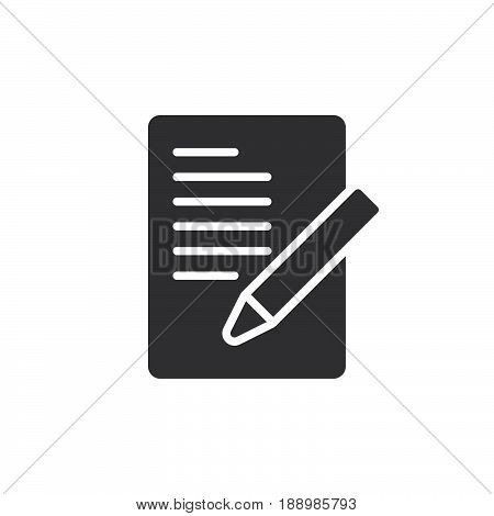 Document with pen form icon vector filled flat sign solid pictogram isolated on white. Symbol logo illustration. Pixel perfect