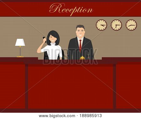 Hotel reception. Young woman and man receptionists are stand at reception desk. Travel, hospitality, hotel booking concept. Vector illustration