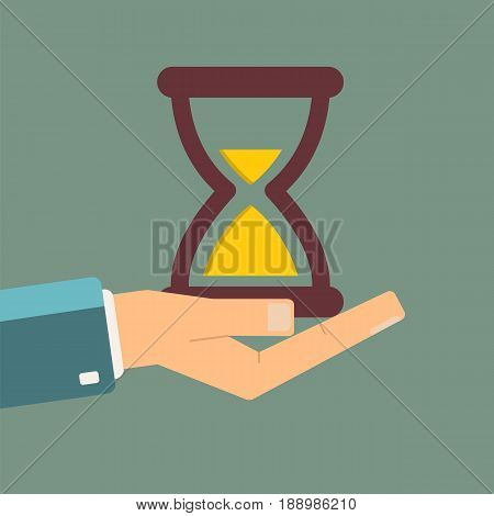 Hand holding hourglass. time is money concept. vector illustration