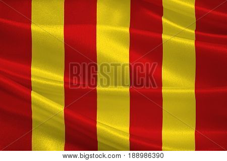 Flag of Forcalquier is a commune in the Alpes-de-Haute-Provence department in southeastern France. 3d illustration