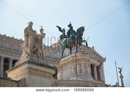 Equestrian monument to Victor Emmanuel II near Vittoriano at day in Rome Italy