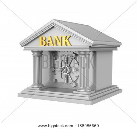 Bank Building with Vault Door isolated on white background. 3D render