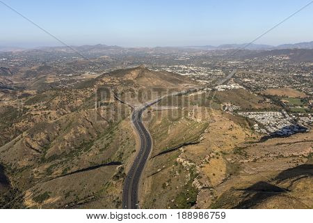 Aerial view of the Ventura 101 Freeway entering Newbury Park and Thousand Oaks, California.