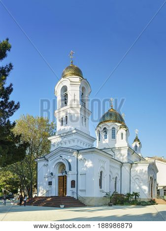 Gelendzhik Krasnodar Krai Russia - April 29.2017: Svyato-Voznesensky Cathedral of the Russian Orthodox Church of the Moscow Patriarchate diocese of Novorossiysk in Gelendzhik